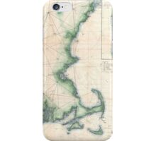 Vintage Map of the Massachusetts Coastline iPhone Case/Skin