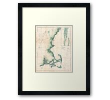 Vintage Map of the Massachusetts Coastline Framed Print