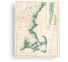 Vintage Map of the Massachusetts Coastline Canvas Print