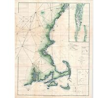 Vintage Map of the Massachusetts Coastline Photographic Print