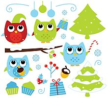 Cute Christmas design elements : blue, green and red Photographic Print