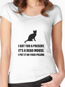 Cat Dead Mouse Pillow Women's Fitted Scoop T-Shirt