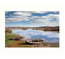 two beached fishing boats on Donegal beach Art Print