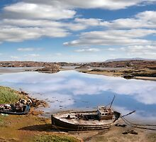 two beached fishing boats on Donegal beach by morrbyte