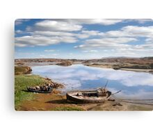 two beached fishing boats on Donegal beach Metal Print