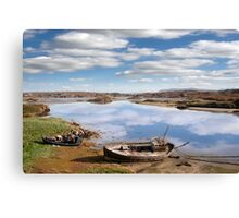 two beached fishing boats on Donegal beach Canvas Print