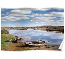 two beached fishing boats on Donegal beach Poster