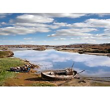 two beached fishing boats on Donegal beach Photographic Print