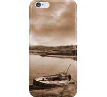 two beached fishing boats on Irish beach in sepia iPhone Case/Skin
