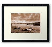 two beached fishing boats on Irish beach in sepia Framed Print
