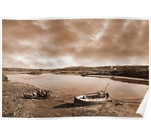 two beached fishing boats on Irish beach in sepia Poster