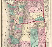 Vintage Map of Washington and Oregon (1875)  by BravuraMedia