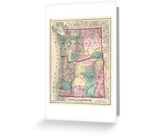 Vintage Map of Washington and Oregon (1875)  Greeting Card