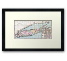 Vintage Map of Long Island (1880)  Framed Print