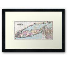 Vintage Map of Long Island (1880)  Framed Print