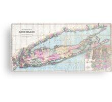 Vintage Map of Long Island (1880)  Metal Print