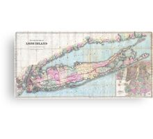 Vintage Map of Long Island (1880)  Canvas Print
