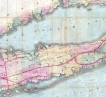 Vintage Map of Long Island (1880)  Sticker