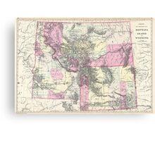 Vintage Map of Montana, Wyoming and Idaho (1884) Canvas Print