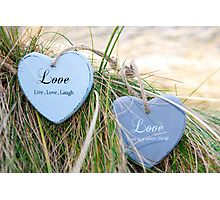 two love hearts on grassy dunes Photographic Print