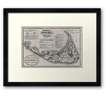 Vintage Map of Nantucket Framed Print