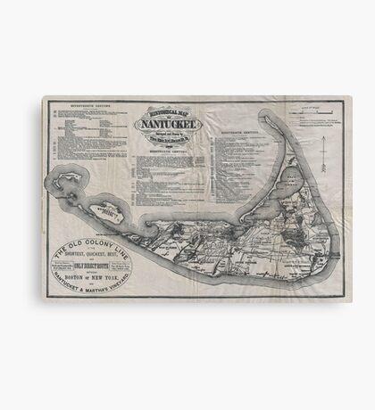 Vintage Map of Nantucket Canvas Print