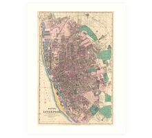 Vintage Map of Liverpool England (1890) Art Print