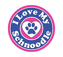 I LOVE MY SCHNOODLE DOG HEART I LOVE MY DOG PET PETS PUPPY STICKER STICKERS DECAL DECALS Photographic Print