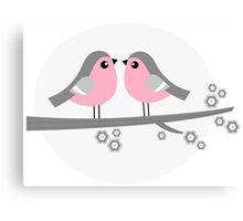 Birds in love retro Illustration Canvas Print