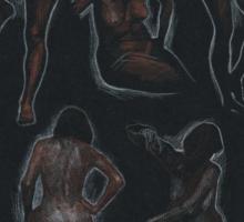nude sketches / black Sticker