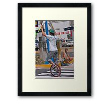 Red Light Busker Framed Print