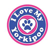 I LOVE MY YORKIPOO DOG HEART I LOVE MY DOG PET PETS PUPPY STICKER STICKERS DECAL DECALS Photographic Print