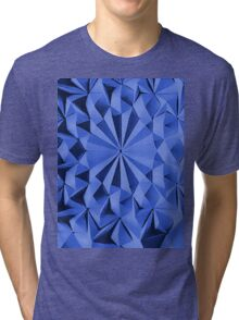 Blue fractals pattern, geometric theme Tri-blend T-Shirt