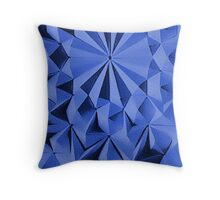 Blue fractals pattern, geometric theme Throw Pillow