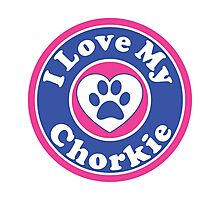 I LOVE MY CHORKIE DOG HEART I LOVE MY DOG PET PETS PUPPY STICKER STICKERS DECAL DECALS Photographic Print