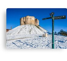Clifford Tower In Snow Canvas Print