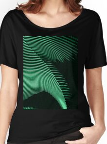 Green waves, line art, curves, abstract pattern Women's Relaxed Fit T-Shirt