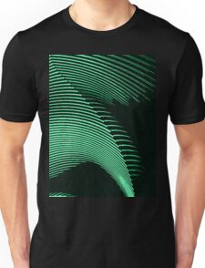 Green waves, line art, curves, abstract pattern Unisex T-Shirt