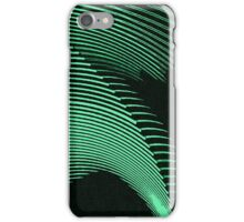 Green waves, line art, curves, abstract pattern iPhone Case/Skin