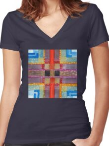 ERQ#2 - Abstract Watercolor by Dan Vera Women's Fitted V-Neck T-Shirt