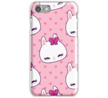 Cute little bunny pattern with hearts iPhone Case/Skin
