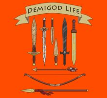 Demigod Life Includes Weapons Kids Tee