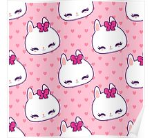 Cute little bunny pattern with hearts Poster