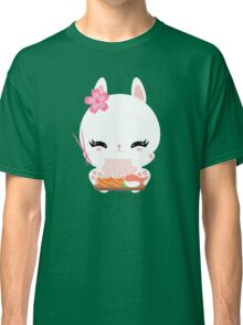 Cute little bunny with sushi and rolls Classic T-Shirt