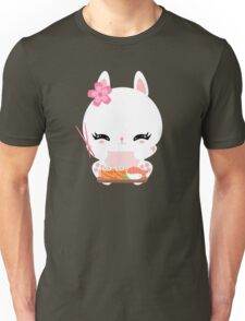 Cute little bunny with sushi and rolls Unisex T-Shirt