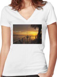 Golden Cruising Sunset. Photo Art, Print, Gift, Women's Fitted V-Neck T-Shirt