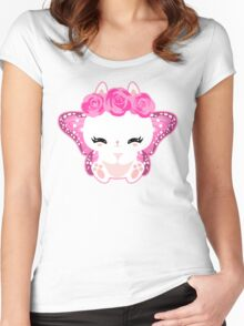 Cute little bunny with a butterfly wings and roses Women's Fitted Scoop T-Shirt