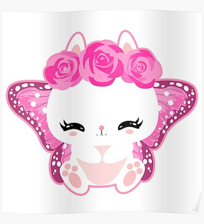 Cute little bunny with a butterfly wings and roses Poster