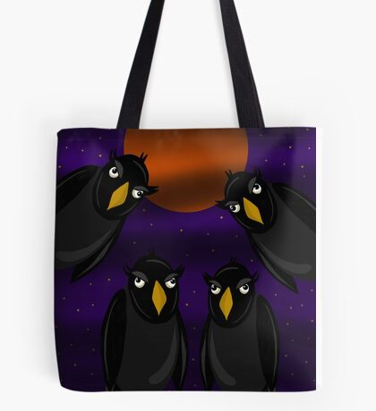 Halloween - Black ravens and bloody moon Tote Bag