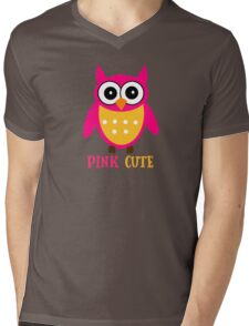 Cute Owl Sweet Nice Girl Girlfirend Woman Pink Puffy Toy Animal Design Cartoon Gift T-Shirts Mens V-Neck T-Shirt